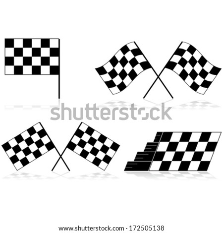 Vector icons showing a race checkered flag in different angles and arrangements - stock vector