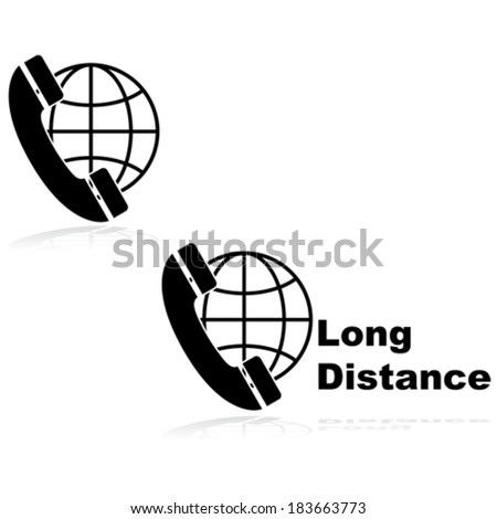 Vector icons showing a telephone in front of a globe, indicating long distance calls