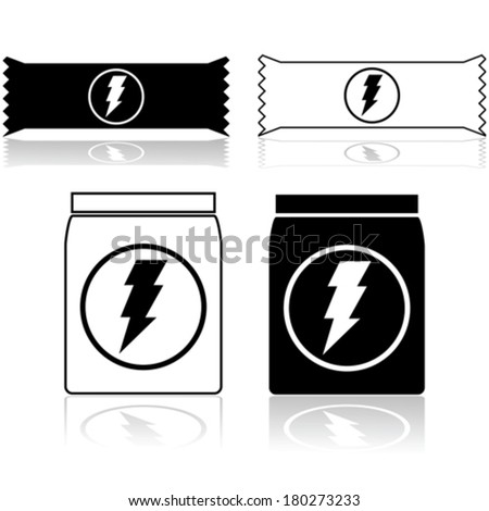 Vector icons showing power cereal bars and food supplement powder
