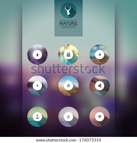 Vector  icons, web and mobile interface template icons, blurred circles landscape. Corporate website design. Minimalistic multifunctional media backdrop. Editable. Blurred.  - stock vector