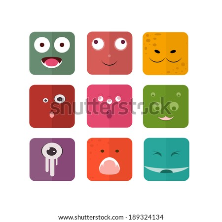 Vector icons with persons monsters. Flat style - stock vector
