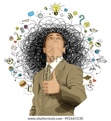 Vector idea concept with businessman looking upwards