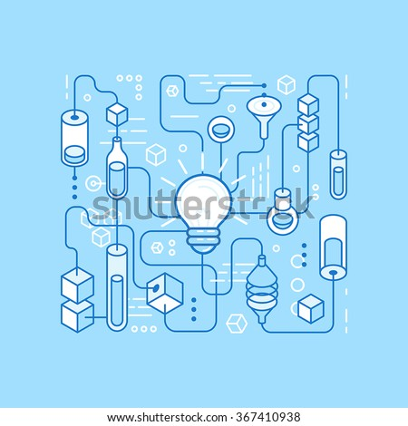 Vector idea generating process - infographics design elements in trendy linear style  - stock vector