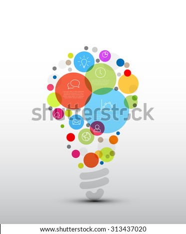 Vector idea Infographic template - circles with some content in the bulb shape - stock vector