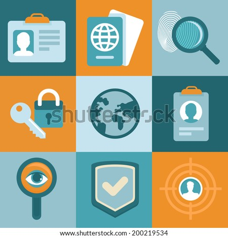 Vector identification concepts in flat style - icons and signs - stock vector