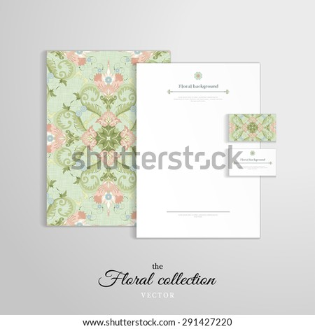 Vector identity templates. Letterhead, folder for documents, business cards.  Beautiful floral square pattern in vintage style and and delicate canvas texture. - stock vector