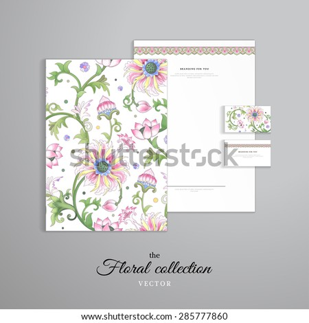 Vector identity templates. Letterhead, folder for documents, business cards. Lotus flowers and leaves are painted by watercolor. Imitation of chinese porcelain painting. Hand drawing. - stock vector