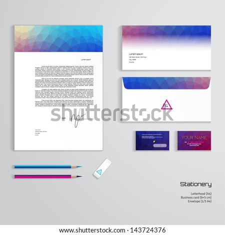 Vector identity templates multicolored geometric pattern stock vector identity templates multicolored geometric pattern letterhead envelope business card pencils reheart Choice Image