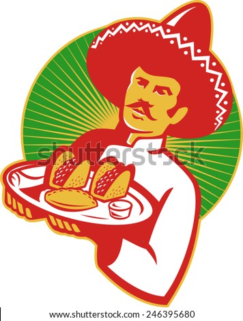 vector illuistration of a mexican chef wearing sombrero hat serving a plate full of taco burrito empanada set inside circle done in retro style. - stock vector