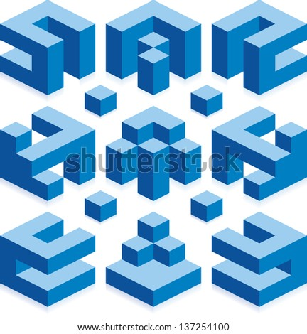 Vector Illusion of Constructed Space - stock vector