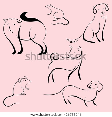 Vector illustraition of Domestic Animals Design Set made with simple line only - stock vector