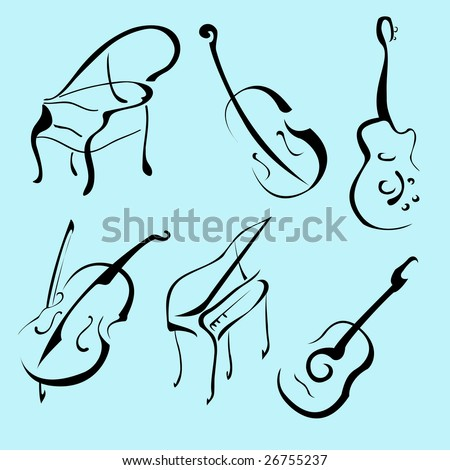 Vector illustraition of Music Instruments Design Set made with simple line only - stock vector