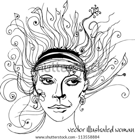 vector Illustrated abstract beautiful woman isolated on white background