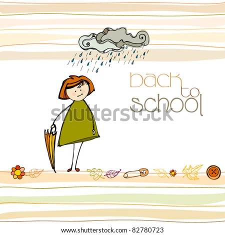 vector illustrated autumn background with cute little girl for your back to school design - stock vector