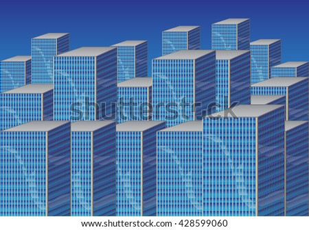 Vector illustrated blue cartoon cityscape with tall buildings.