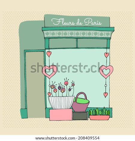 vector illustrated cute flower shop - stock vector