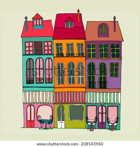 vector illustrated cute street view with coffee shops - stock vector