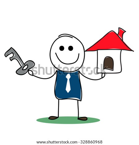 Vector illustrated real estate agent with house model and a key. - stock vector