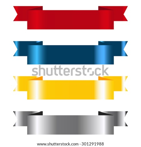 Vector illustrated set of colored blank banners - stock vector