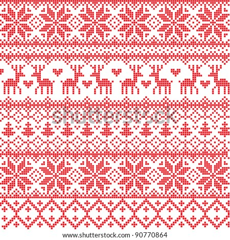 Vector Illustrated Traditional Red Nordic Pattern
