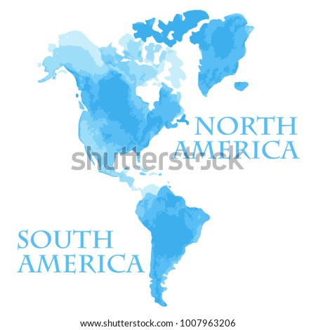 Vector illustrated watercolor style world map vectores en stock vector illustrated watercolor style world map parts like north and south america painted in blue ink gumiabroncs Choice Image