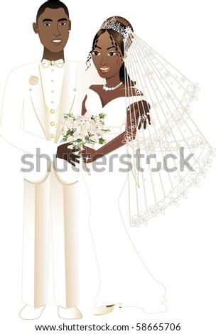 Vector Illustration. A beautiful bride and groom on their wedding day. African American Wedding Couple. - stock vector