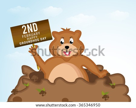 Vector illustration a Cute groundhog out of a hole.