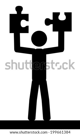 Vector / illustration. A man is holding two pieces of puzzle.  - stock vector