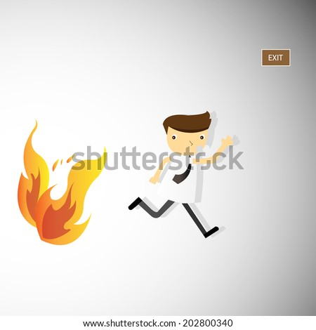 Vector / illustration. A man is running from fire.