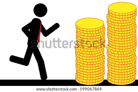 Vector/illustration. A man is running to the gold coins. - stock vector
