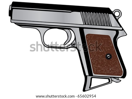 Vector illustration a pistol - stock vector