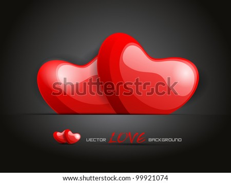 Vector illustration a red  love heart  shapes on abstract background. EPS 10, vector illustration - stock vector
