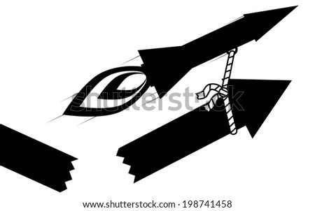 Vector / illustration. A rocket pull up a arrow, the arrow has broke. - stock vector