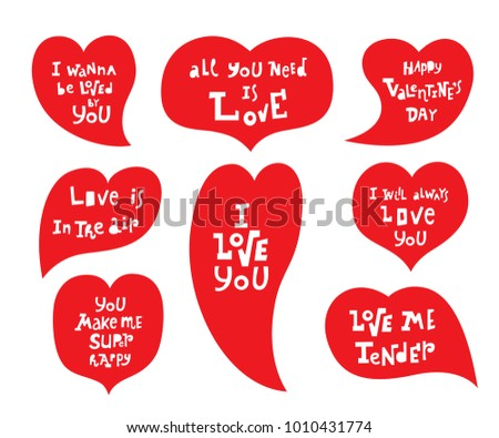Vector illustration: a set of 8 cartoony hand drawn unique typography slogan on red heart for decoration, prints and posters. Design elements isolated on white background for Valentine's Day.