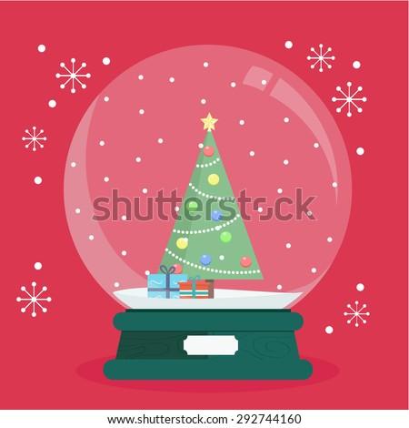 Vector Illustration a spherical glass snow globe Christmas decoration - stock vector
