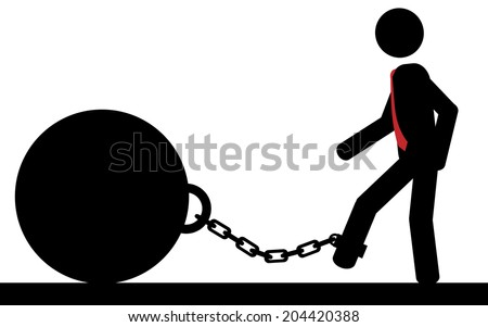 Vector , illustration. A stick figure walks with a weight chained to his foot. - stock vector