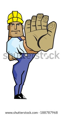 Vector illustration a Strong Worker gesturing stop hand sign.  - stock vector