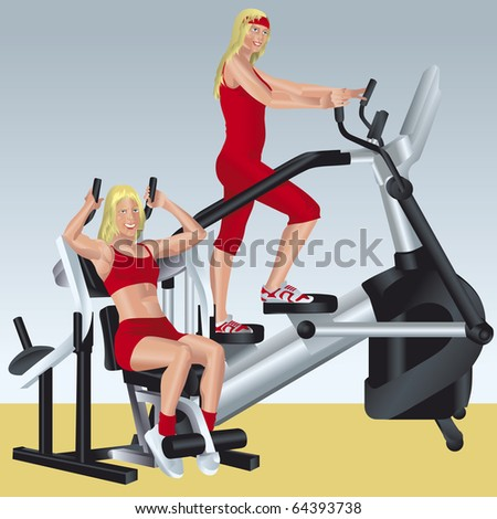 vector illustration about aerobics and fitness, pretty girls are doing exercises on simulators