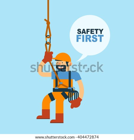 Vector Illustration about Worker and Safety Rope for Climbing, Safety in Workplace. - stock vector
