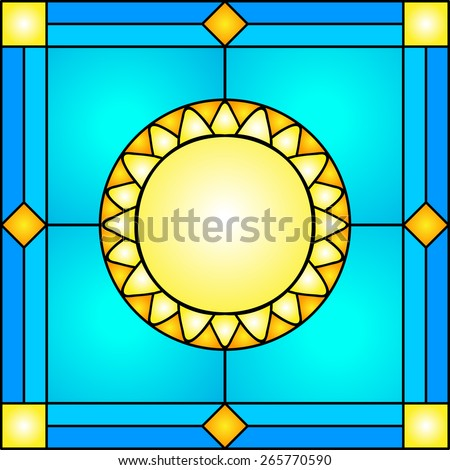 Vector illustration abstract background: mosaic red sun with rays in orange tone. - stock vector