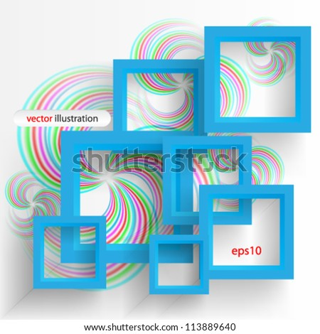 Vector illustration abstract blue 3D frame - eps10 - stock vector