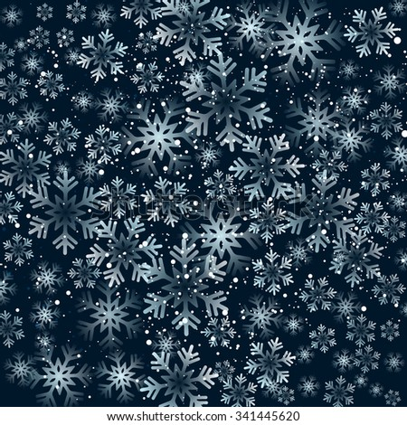 Vector illustration. Abstract Christmas snowflakes background. Black color - stock vector