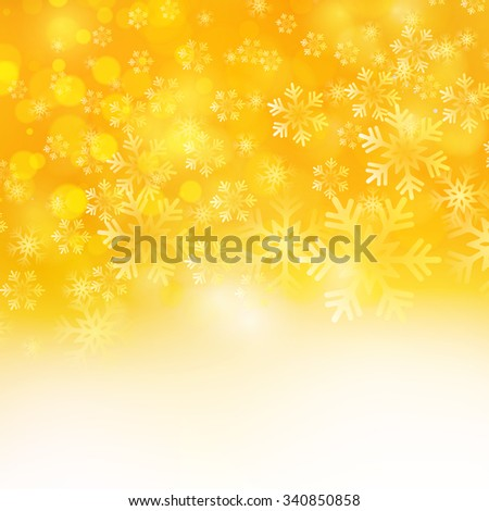 Vector illustration. Abstract Christmas snowflakes background. Orange color - stock vector