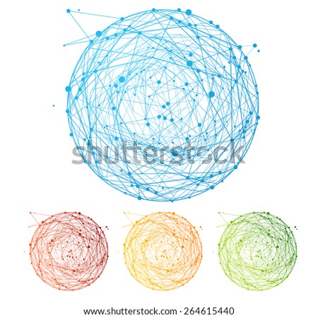 Vector illustration abstract colorful sphere set isolated on white background. Round composition of the molecular lattice. Information interoperability concept. Flat Design  - stock vector