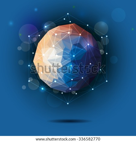 Vector illustration Abstract 3D Geometric, Polygonal, Triangular pattern in molecule structure shape on blue color background.Communication - social media technology concept - stock vector