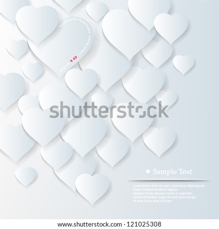 Vector illustration abstract 3D overlapping hearts background design - eps10 - stock vector