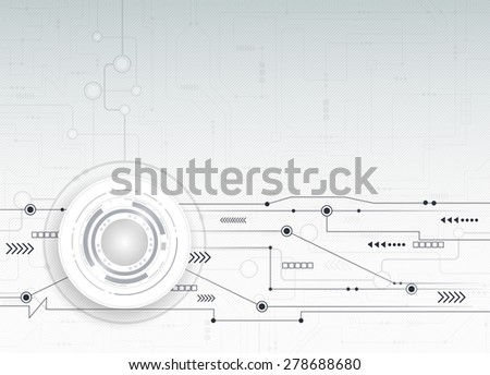 Vector illustration Abstract futuristic circuit board, hi-tech computer digital speed technology light grey color background