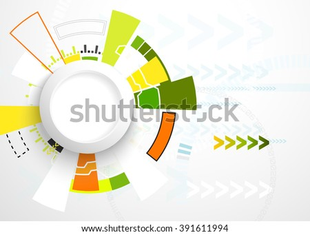 Vector illustration Abstract futuristic circuit board, hi-tech computer digital technology concept, Blank white 3d paper circle for your design on light gray color background - stock vector