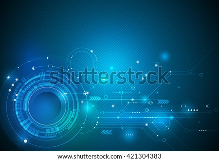 Vector illustration Abstract futuristic eyeball on circuit board, high computer technology. Light green and blue color background - stock vector