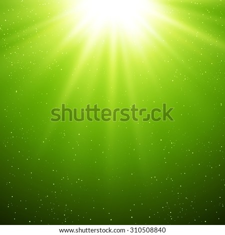 Vector  illustration Abstract green magic light background - stock vector